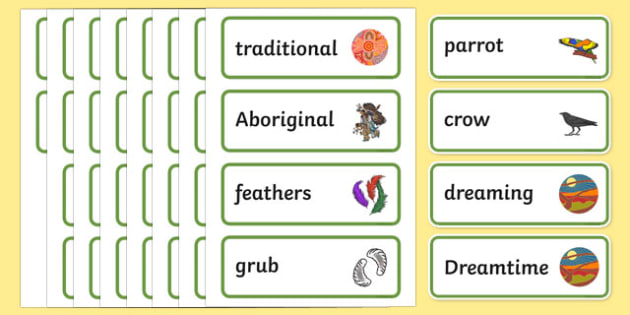 Aboriginal Dreamtime How the Birds Got Their Colours Word Cards-Australia