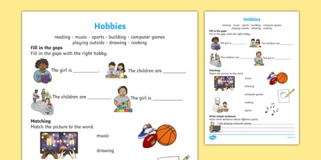 Hobbies Activity Sheet, worksheet