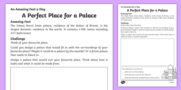 A Perfect Place for a Palace Activity Sheet, worksheet
