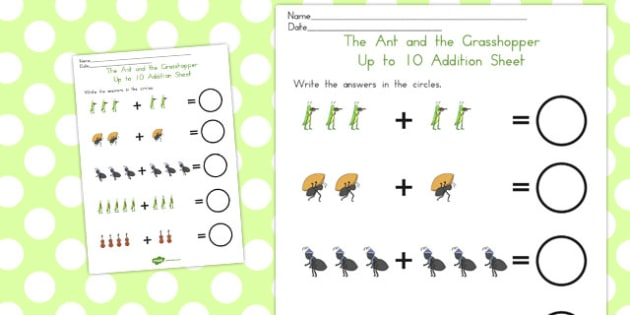 The Ant and the Grasshopper Up to 10 Addition Sheet - numeracy