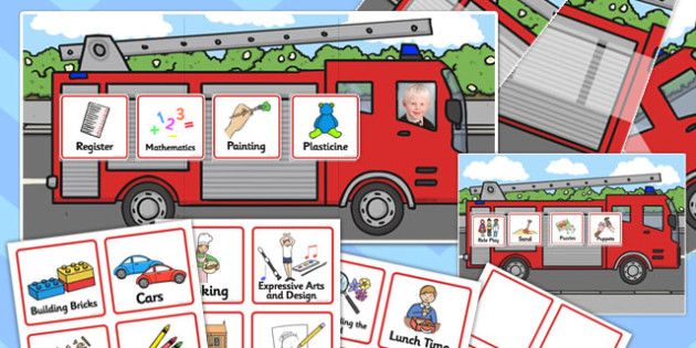 Nursery Fire Engine Themed Individual Visual Timetable Pack - timetable