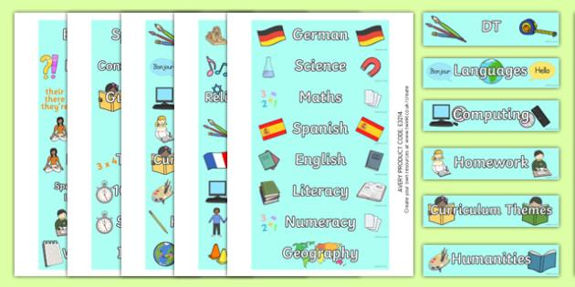 Subject Tray Labels - labels, tray labels, subjects, maths, english, history, french, PE