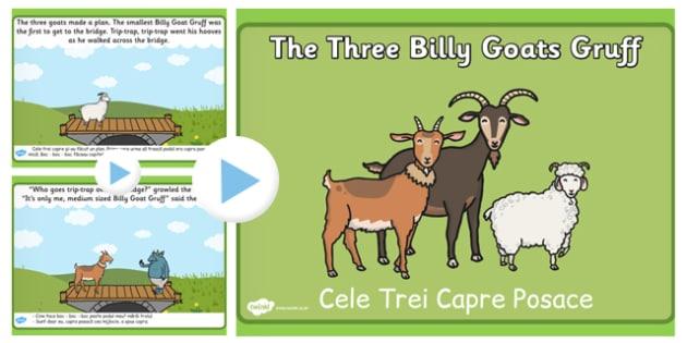 The Three Billy Goats Gruff Story PowerPoint Romanian Translation