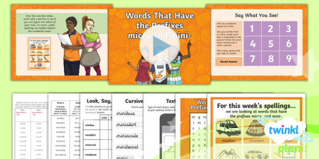 PlanIt Y6 Term 1B W6: Prefixes micro-  and mini- Spelling Pack
