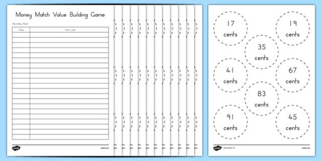 USA Money Match Value Building Game - usa, america, money, match, value, building, game