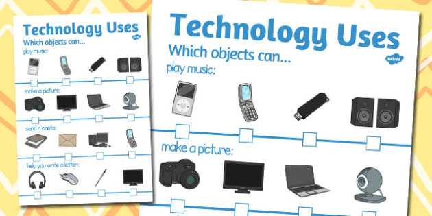 Technology Uses Activity sheet - technology, uses, activity sheet, worksheet
