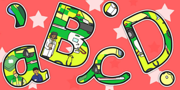 Ambulance Service Themed Display Lettering - ambulance, letters