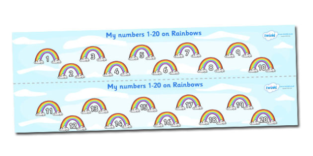 1-20 on Rainbows Number Strips - Maths, Math, number track, rainbow, Numberline, Number line, Counting on, Counting back, counting