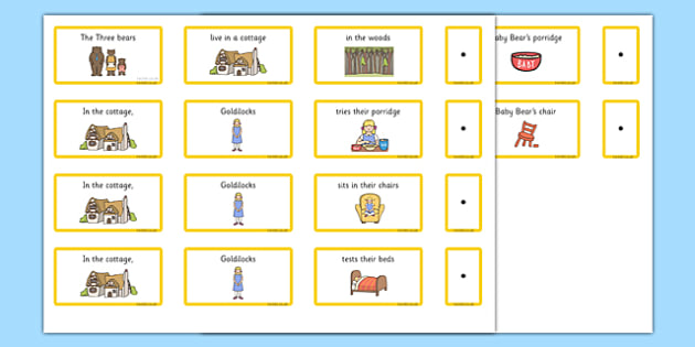 Goldilocks and the Three Bears Sentence Building Cards EAL - eal