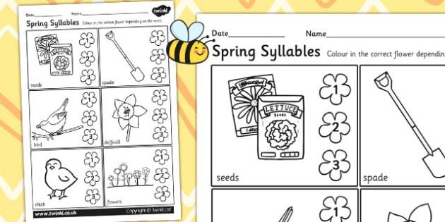 Spring Syllables Activity Worksheet - spring, syllables, seasons