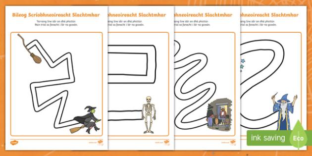 Oíche Shamhna Pencil Control Path Activity Sheets-Irish
