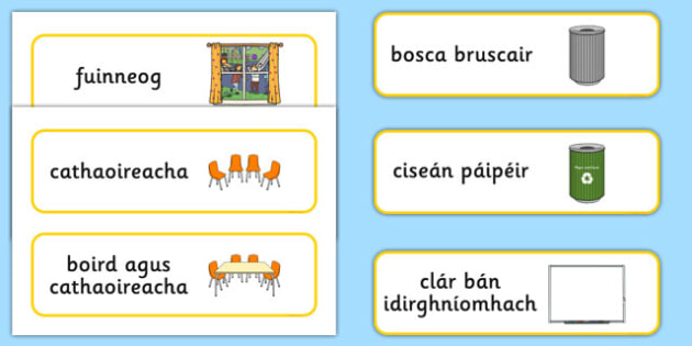 Classroom Furniture Labels Gaeilge - gaeilge, Classroom furniture, furniture label, door, chair, table, window, desk, carpet, bin, dustbin, whiteboard, chalkboard, classroom areas