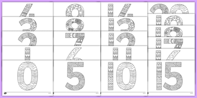 Mindfulness Colouring Numbers 0 to 20 - mindfulness, colouring, 0-20, numbers