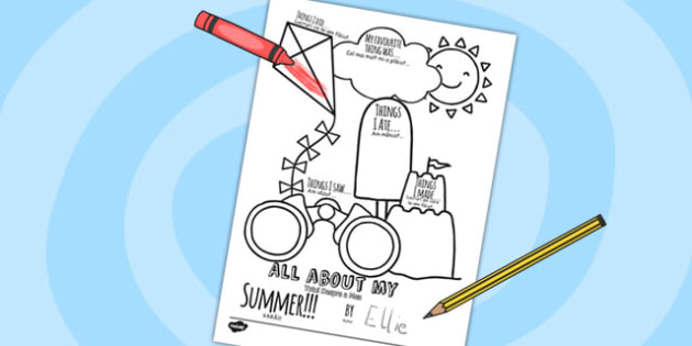 All About My Summer Writing Frame Romanian Translation - romanian