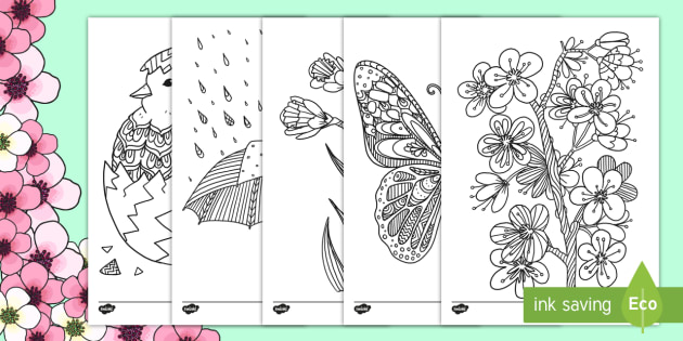 Spring Mindfulness Colouring - spring, mindfulness coloring, mindfulness, coloring, color, easter