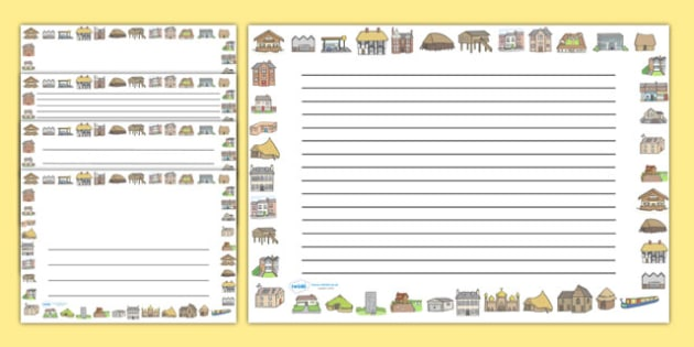Houses and Homes full Page Borders (Landscape) - page border, border, frame, writing frame, houses and homes, houses and homes borders, houses and homes landscape borders, writing template, writing aid, writing, A4 page, page edge, writing activities