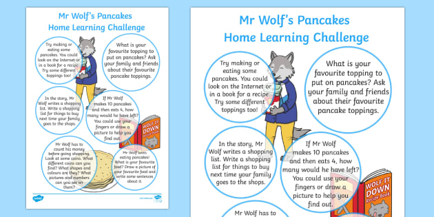 EYFS Home Learning Challenge Sheet Reception FS2 to Support Teaching on Mr Wolfs Pancakes - EYFS planning, early years activities, homework, Pancake Day, Shrove Tuesday, Mr Wolf's Pancakes, Jan Fearnley