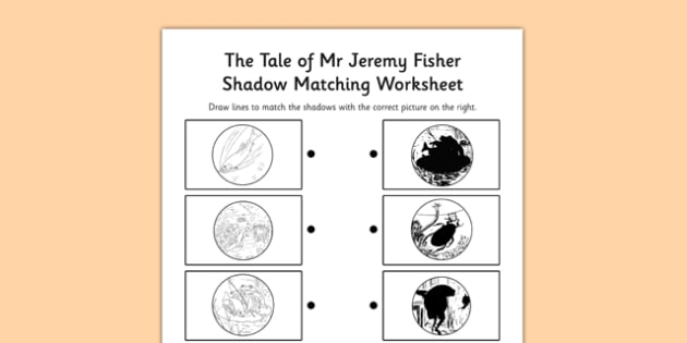 Beatrix Potter - The Tale of Mr Jeremy Fisher Shadow Matching Activity - beatrix potter, mr jeremy fisher, shadow matching, activity