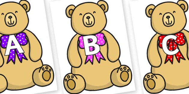 A-Z Alphabet on Bow Tie Teddy - A-Z, A4, display, Alphabet frieze, Display letters, Letter posters, A-Z letters, Alphabet flashcards