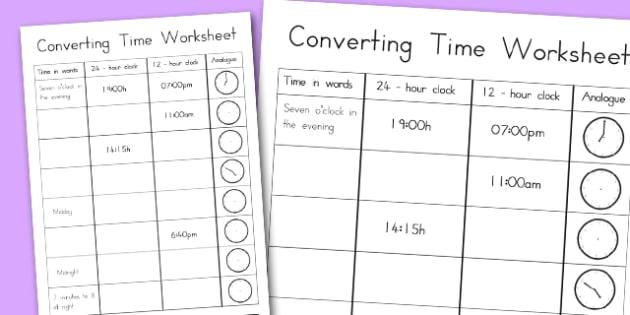 Converting Time Worksheet - australia, time, worksheet, converting