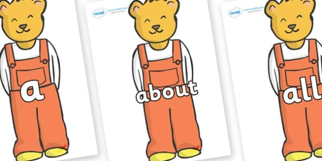 100 High Frequency Words on Bears (Whatever Next) - High frequency words, hfw, DfES Letters and Sounds, Letters and Sounds, display words