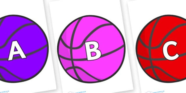 A-Z Alphabet on Basketballs - A-Z, A4, display, Alphabet frieze, Display letters, Letter posters, A-Z letters, Alphabet flashcards