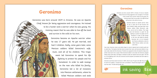 Native Americans Geronimo Information Sheet-Scottish - Native Americans, Apache chief, famous Native Americans ,Scottish