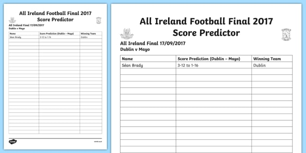 GAA Football Final Score Predictor A4 Display Poster-Irish