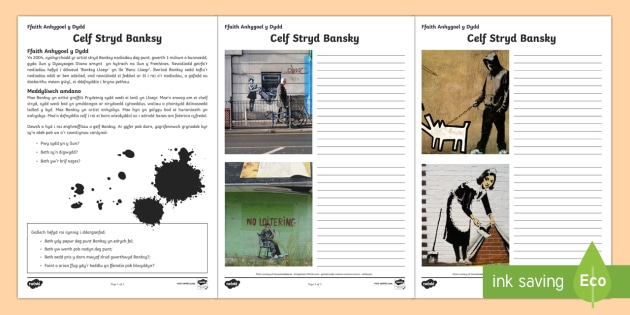 Celf yr Artist Stryd Banksy Taflenni Gweithgaredd - Cymraeg, Iaith, Celf, Thema, Banksy, graffiti, celf stryd, taflen gweithgaredd, ysgrifennu, lluniau,