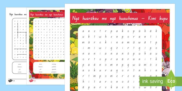 Ngā huarākau me ngā huawhenua - huarākau, huawhenua, fruits, vegetable, māori, wordsearch