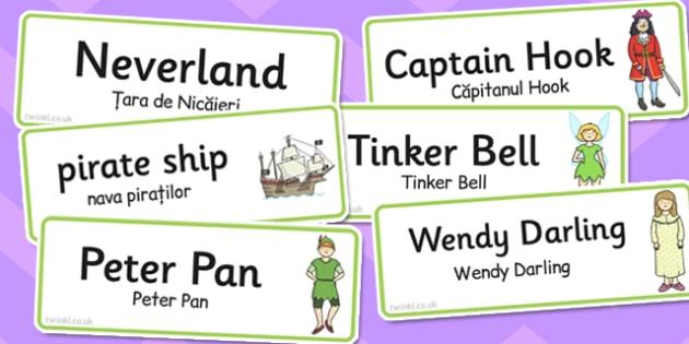 Peter Pan Word Cards Romanian Translation - romanian, peter, pan