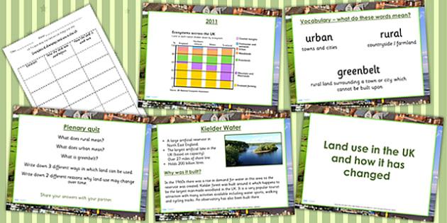 United Kingdom Land Use Lesson Teaching Pack - geography, UK