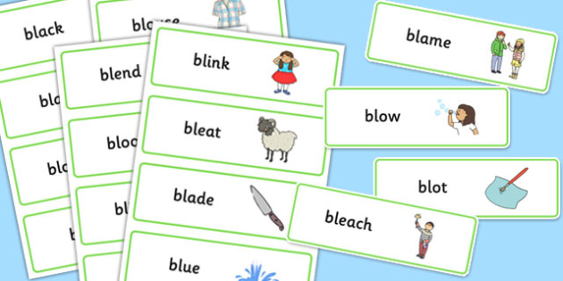 BL Word Cards - bl sound, word cards, word, cards, sound, bl, sen