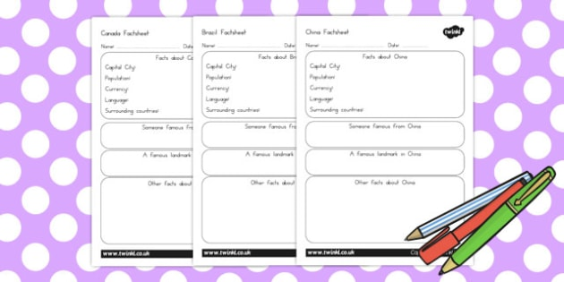 Countries Factsheet Writing Templates - Country, Geography, Facts