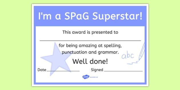 I'm a SPaG Superstar Certificate - i'm a spag superstar, spag, certificate, award, reward, praise