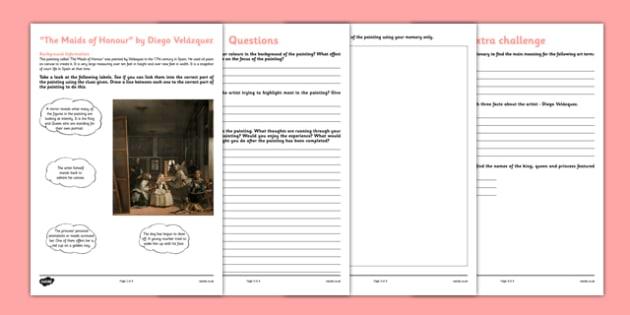 The Maids of Honour by Velázquez Art Appreciation Activity Sheet - art, appreciation, activity sheet, Maids of Honour, Velázquez, worksheet