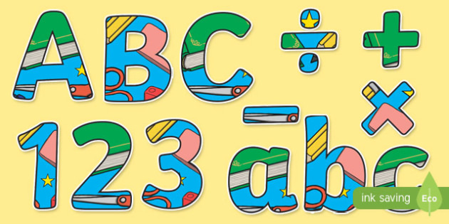 Learning Wall Display Lettering - learning wall, display lettering, display letters, lettering, display alphabet, lettering for display, alphabet letters