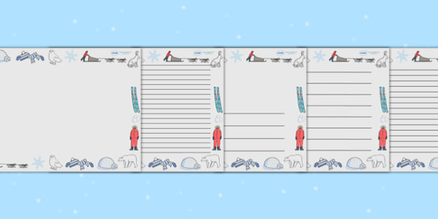 Winter Themed Landscape Page Borders  - winter, page borders