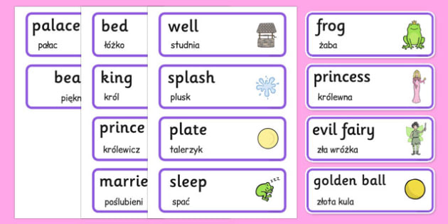 The Frog Prince Word Cards Polish Translation - polish, frog prince, word cards, frog, prince