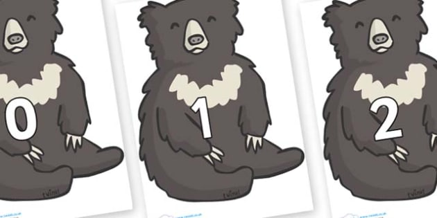 Numbers 0-100 on Bears - 0-100, foundation stage numeracy, Number recognition, Number flashcards, counting, number frieze, Display numbers, number posters
