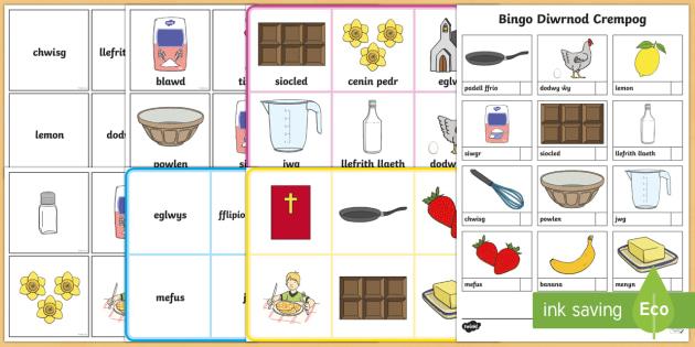 Bingo Diwrnod Crempog - Pancake Day, Diwrnod Crempog, chwisg, whisk, mefus, strawberries, surop, syrop,  banana, fflipio cre, dydd , ddydd, ddiwrnod