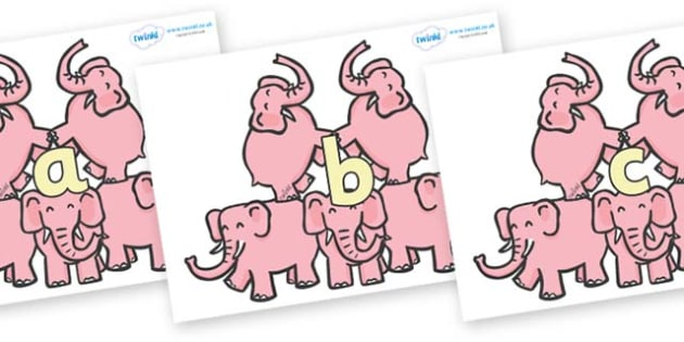 Phase 2 Phonemes on Five Elephants - Phonemes, phoneme, Phase 2, Phase two, Foundation, Literacy, Letters and Sounds, DfES, display