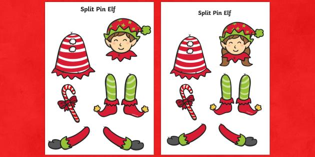 Split Pin Elf Activity - elf, elves, puppet, split pin, model, christmas, ks1, eyfs