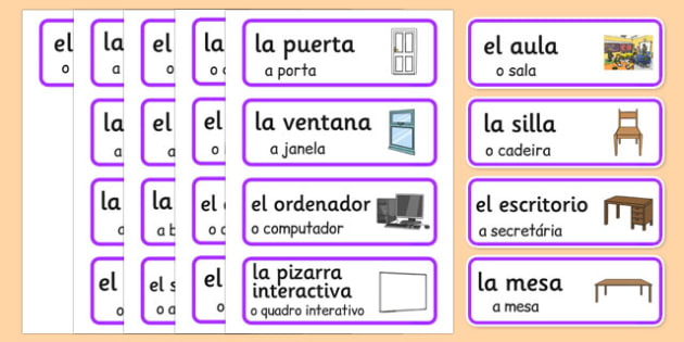Spanish Classroom Word Cards Portuguese Translation - portuguese, classroom, word cards, word, cards
