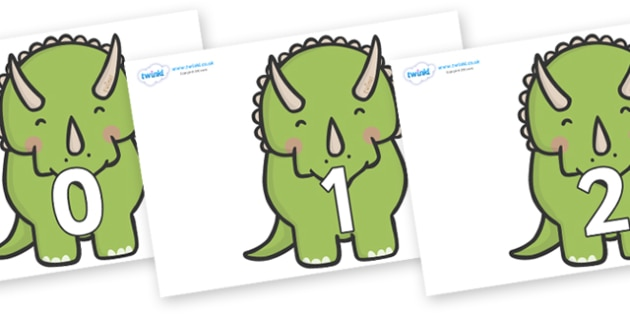 Numbers 0-100 on Triceratops Dinosaurs - 0-100, foundation stage numeracy, Number recognition, Number flashcards, counting, number frieze, Display numbers, number posters