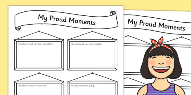 My Proud Moments Writing Template - ourselves, writing aid