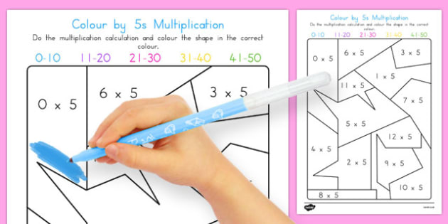 Colour by 5s Multiplication - australia, colour, 5s, multiplication, maths