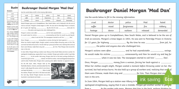 Bushranger Daniel Morgan Cloze Activity Sheet-Australia