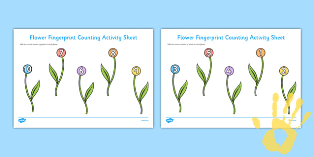 Flower Fingerprint Counting Activity Sheet Pack - EYFS activities, number, EAD, plants and growth, garden, worksheet