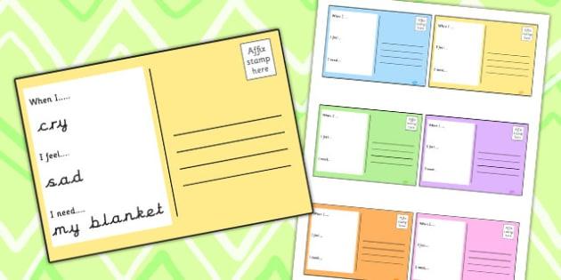 Emotions Postcard Writing Frames - feelings, emotions, SEN, class management
